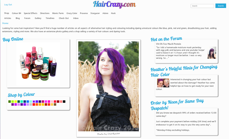 HairCrazy.com's website